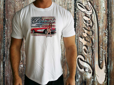 Corvette | US Flag Crew Neck | Pin-up girl