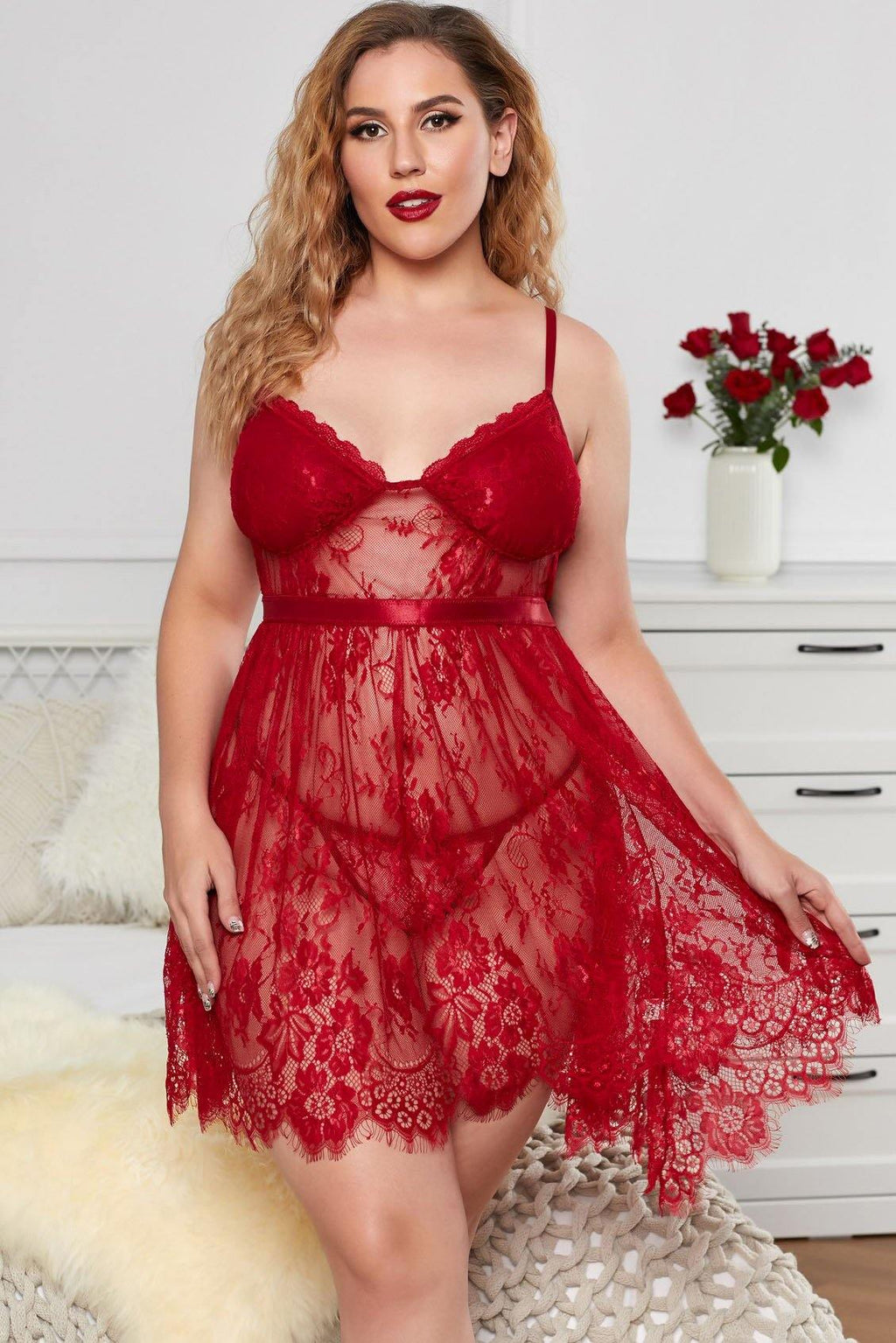 Floral Lace Plus Size Babydoll - Sensual Attraction