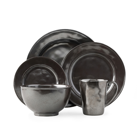 Pewter Stoneware 5pc Setting