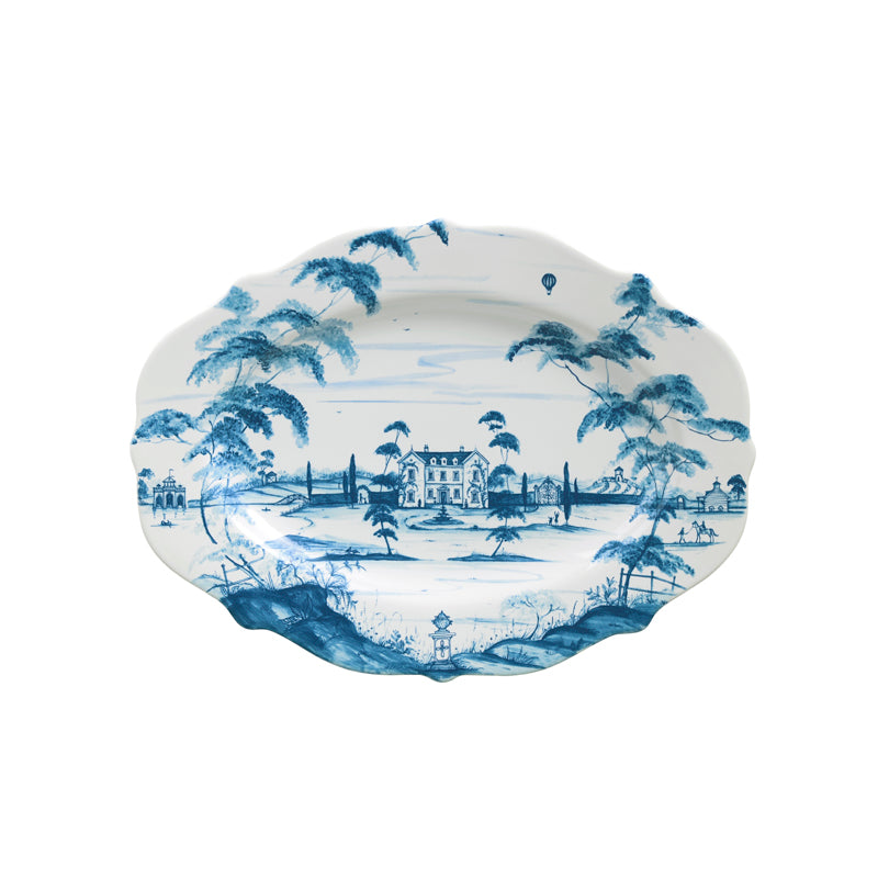"Country Estate Delft Blue 18.5"" Serving Platter Main House"