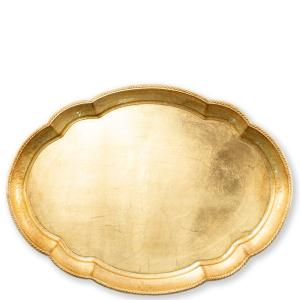 Florentine Wooden Accessories Gold Large Oval Tray