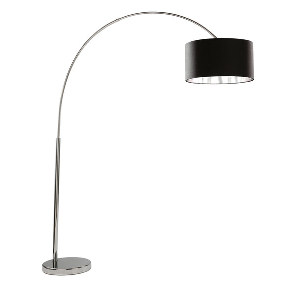 Searchlight ARCS FLOOR LAMP - CHROME-BLACK SHADE WITH SILVER LINER
