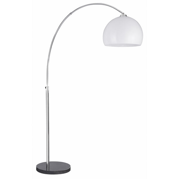 Searchlight ARCS CHROME FLOOR LAMP WITH WHITE PLASTIC DOME SHADE AND BLACK BASE