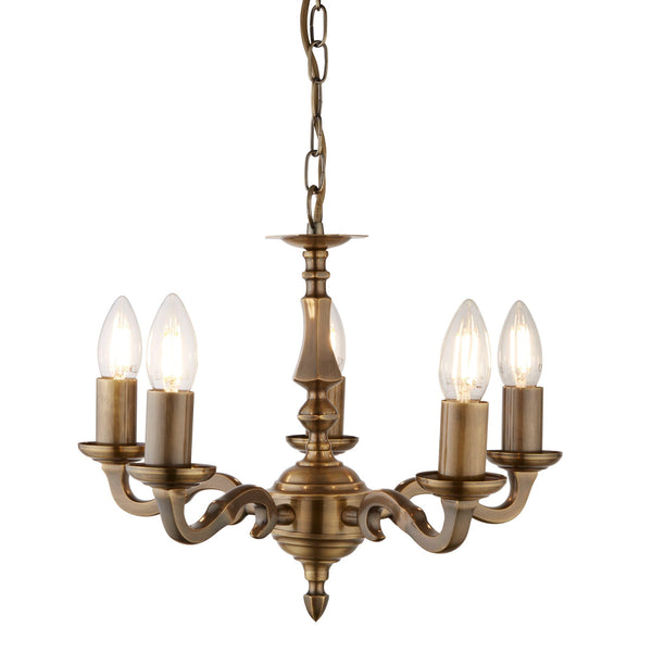 Searchlight MALAGA - 5 LIGHT CEILING, ANTIQUE BRASS (NO GLASS)