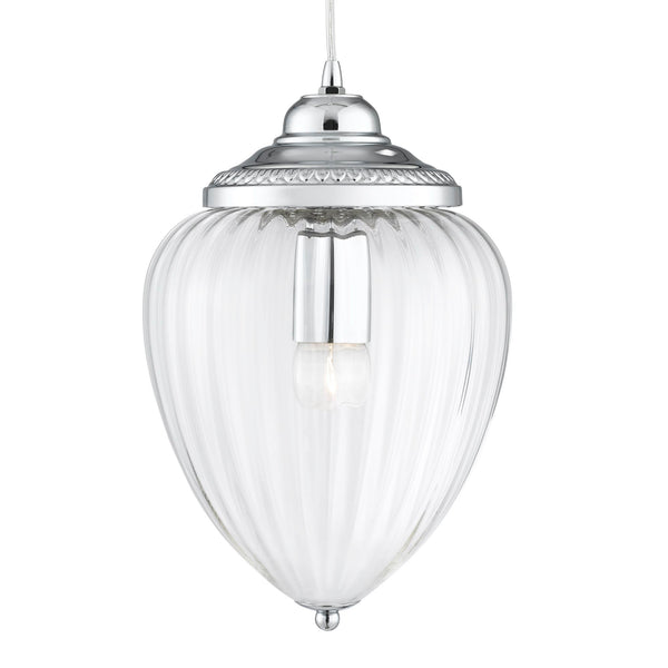 Searchlight PINEAPPLE - 1 LIGHT PENDANT, CHROME, CLEAR RIBBED GLASS