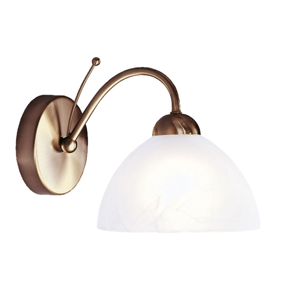 Searchlight MILANESE - 1 LIGHT WALL BRACKET, ANTIQUE BRASS, ALABASTER GLASS