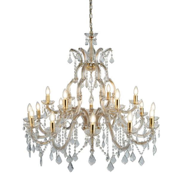 Searchlight MARIE THERESE - 18 LIGHT CHANDELIER, POLISHED BRASS, CLEAR CRYSTAL