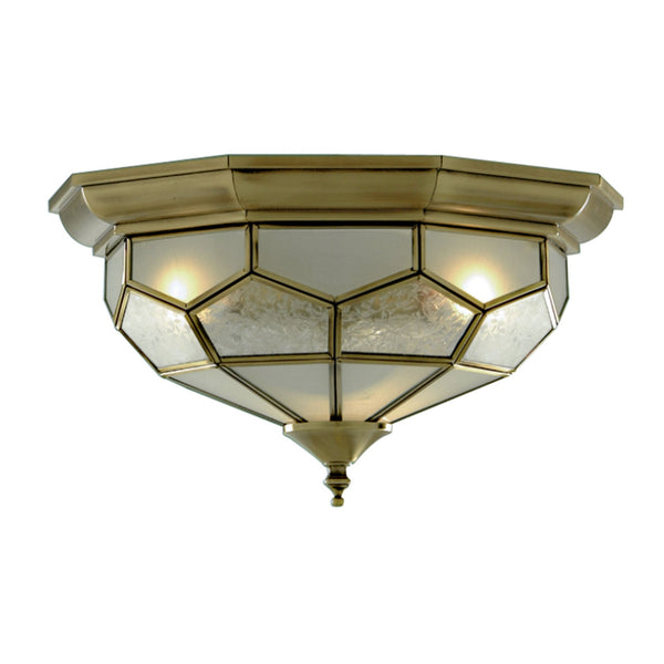 Searchlight FLUSH ANTIQUE BRASS LEADED CEILING FITTING 29cm