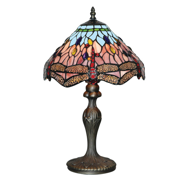 Searchlight DRAGONFLY - 1LT TABLE LAMP, ANTIQUE BRASS, TIFFANY GLASS