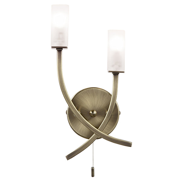 Endon HAVANA 2 LIGHTS ANTIQUE BRASS WALL LIGHT 25W