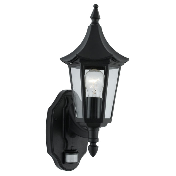 Searchlight BEL AIRE BLACK WALL UPLIGHTER BLACK WITH SENSOR