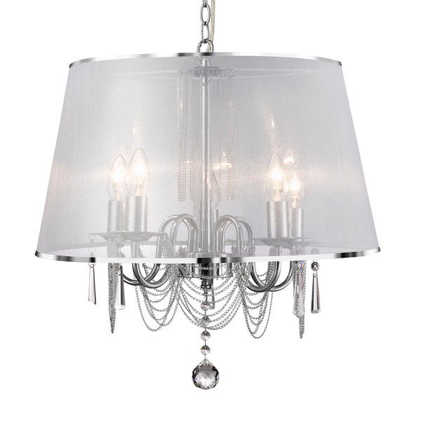 Searchlight VENETIAN - 5 LIGHT CEILING, CHROME, CHAIN LINK, CLEAR CRYSTAL GLASS, WHITE VIOLE SHADE