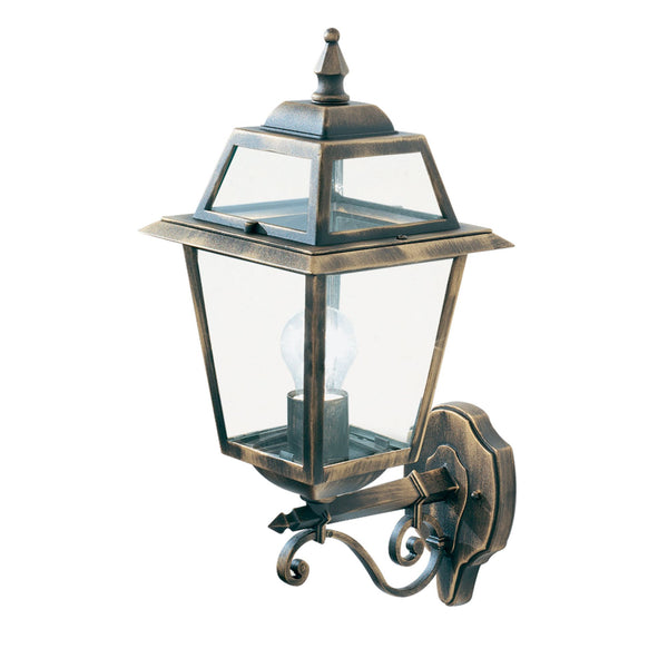 Searchlight NEW ORLEANS - 1 LIGHT OUTDOOR (UP LIGHT) WALL BRACKET, BLACK GOLD, CLEAR GLASS