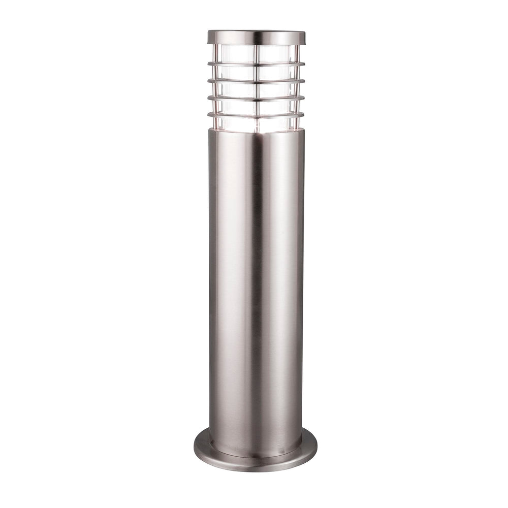 Searchlight LOUVRE OUTDOOR - 1 LIGHT OUTDOOR POST (HEIGHT 45cm), STAINLESS STEEL, CLEAR POLYCARBONATE