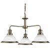 Searchlight BISTRO ANTIQUE BRASS 3 LIGHTS PENDANT CEILING FITTING WITH ACID GLASS SHADES
