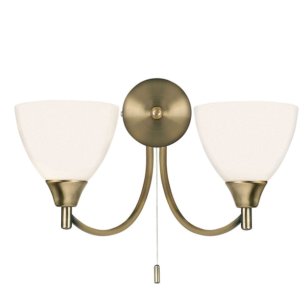 Endon ALTON 2 LIGHTS ANTIQUE BRASS WALL LIGHT 60W