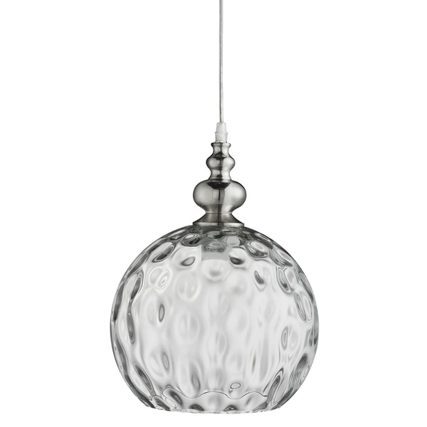 Searchlight INDIANA - 1 LIGHT PENDANT, SATIN SILVER, CLEAR GLASS