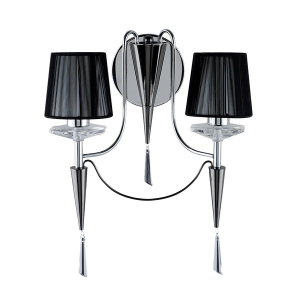 Searchlight DUCHESS - 2 LIGHT WALL BRACKET, CHROME-BLACK CHROME, BLACK STRING SHADES