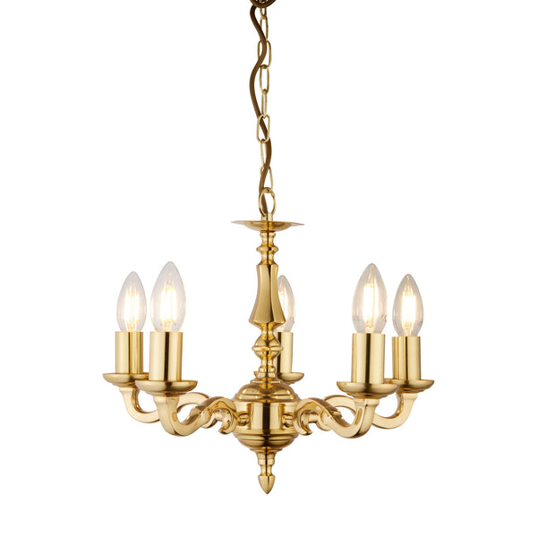 Searchlight SEVILLE 5 LIGHT POLISHED BRASS FITTING ASSEMBLED CANDLE NO GLASS