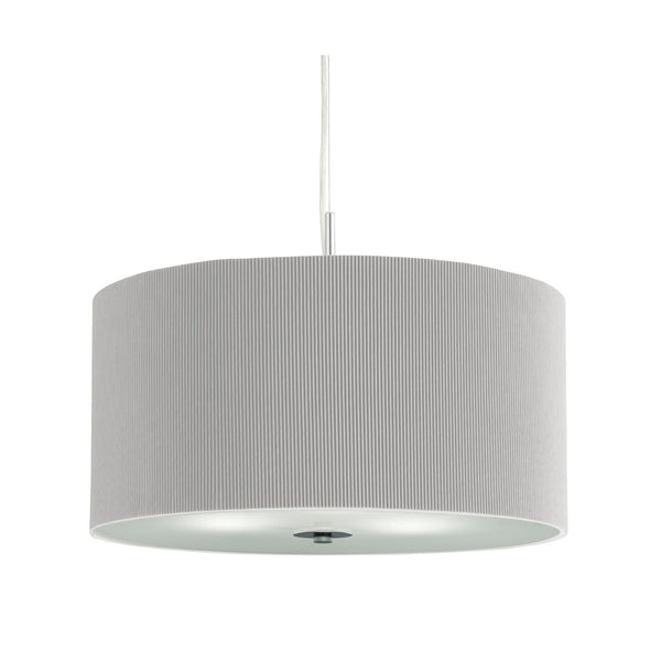 Searchlight DRUM PLEAT PENDANT - 3 LIGHT PLEATED SHADE PENDANT, SILVER WITH FROSTED GLASS DIFFUSER DIA 40