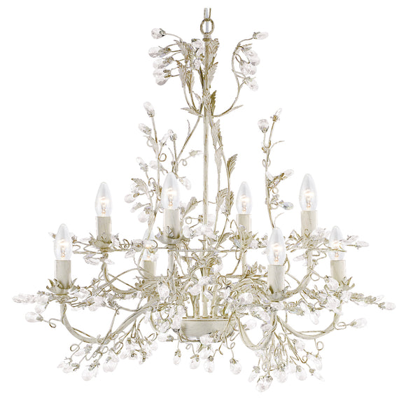 Searchlight ALMANDITE CREAM AND GOLD FINISH 5 LIGHTS CHANDELIER WITH CRYSTAL DRESSING