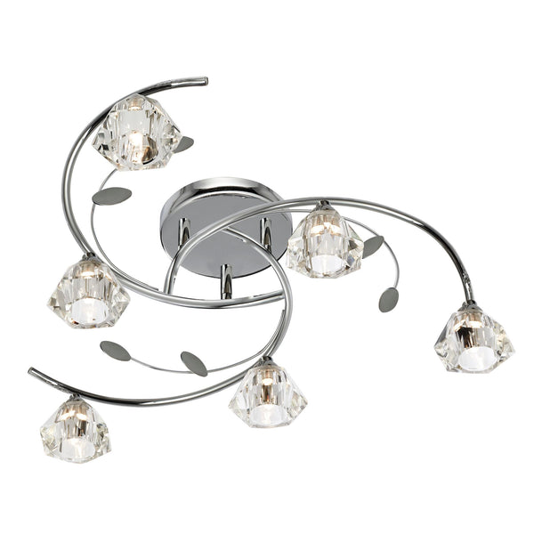Searchlight SIERRA - 6 LIGHT SEMI-FLUSH, CHROME, CLEAR GLASS