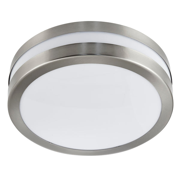 Searchlight OUTDOOR & PORCH 2 LIGHT SILVER IP44 DIA 28CM FLUSH