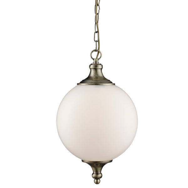 Searchlight ATOM ANTIQUE BRASS PENDANT LIGHT WITH OPAL GLASS BALL SHADE