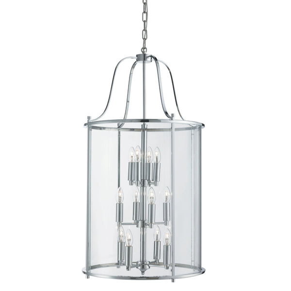 Searchlight VICTORIAN LANTERN, 12 LIGHT CHROME, CLEAR GLASS PANELS