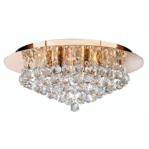 Searchlight HANNA 6 LIGHT GOLD ROUND FLUSH CLEAR CRYSTAL BALLS