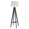 Searchlight TRIPOD - FLOOR LAMP DARK WOOD - CREAM LINEN SHADE