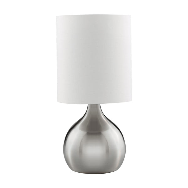 Searchlight TOUCH TABLE LAMP, SATIN SILVER BASE, WHITE DRUM SHADE