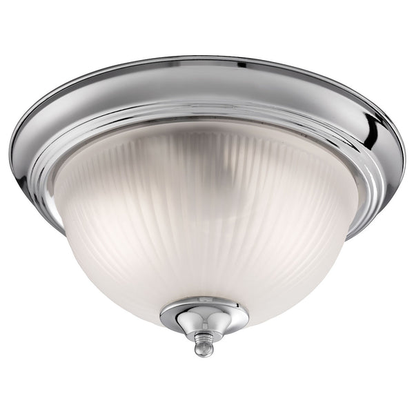 Searchlight AMERICAN DINER SATIN SILVER FLUSH FITTING WITH ACID RIBBED GLASS