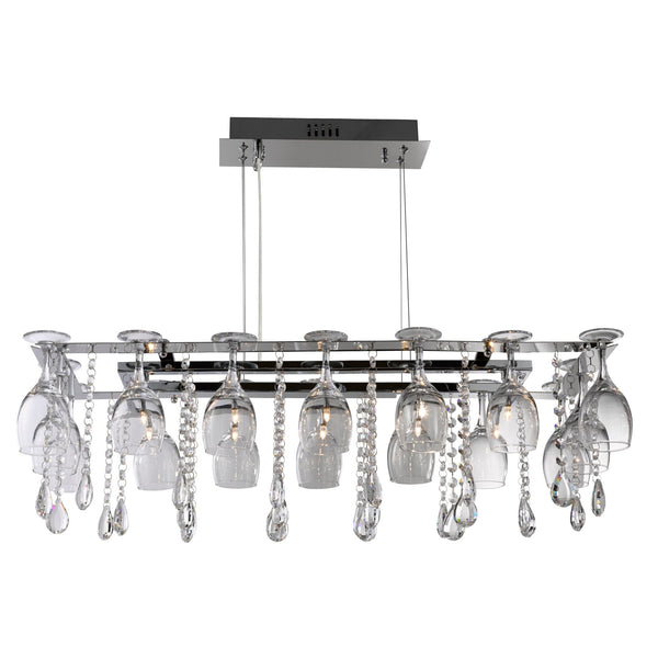 Searchlight VINO 10 LIGHT DECORATIVE CEILING - CHROME & CRYSTAL BUTTONS-PEAR-DROPS & WINE GLASS TRIM