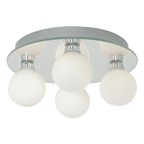 Searchlight GLOBAL BATHROOM - IP44 (G9 LED) 4 LIGHT CEILING, OPAL GLASS, CHROME
