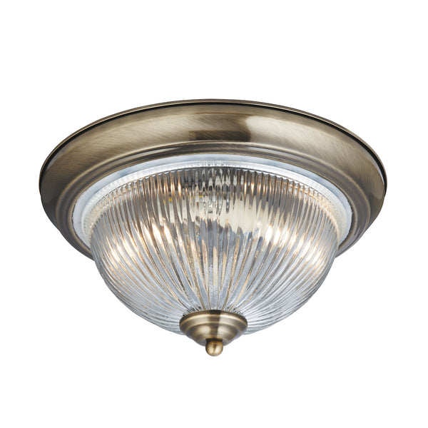 Searchlight AMERICAN DINER ANTIQUE BRASS FLUSH FITTING WITH CLEAR RIBBED GLASS