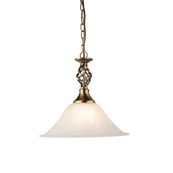 Searchlight CAMEROON ANTIQUE BRASS PENDANT LIGHT WITH MARBLE GLASS SHADE