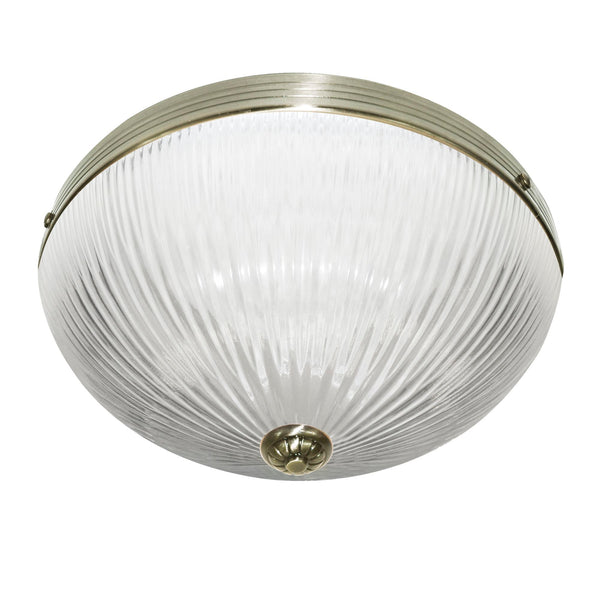 Searchlight WINDSOR II - 2 LIGHT CEILING FLUSH, ANTIQUE BRASS, CLEAR RIBBED GLASS