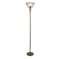 Searchlight UPLIGHTER - LINEA ANTIQUE BRASS SCROLL FLOOR LAMP-ACID GLASS