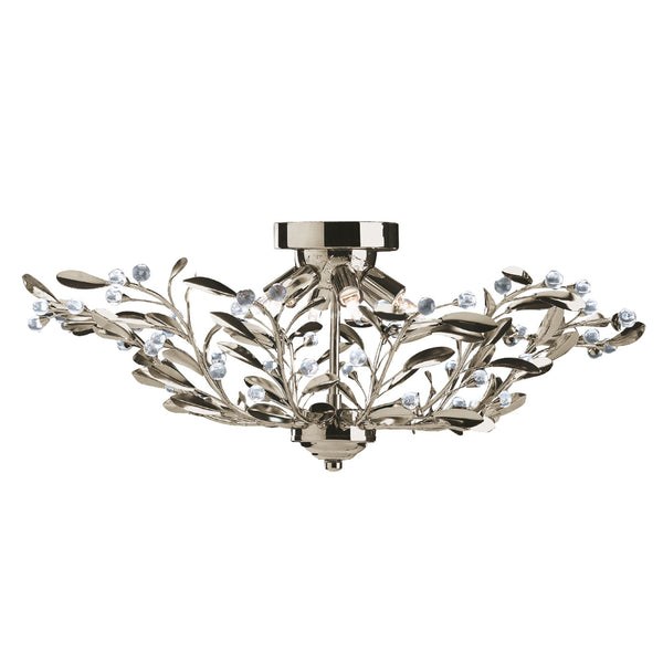 Searchlight LIMA 6 LIGHT ANTIQUE BRASS FLORAL SEMI-FLUSH-GLASS BALLS