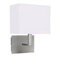 Searchlight WALL LIGHT SATIN SILVER-WHITE RECTANGLE SHADE