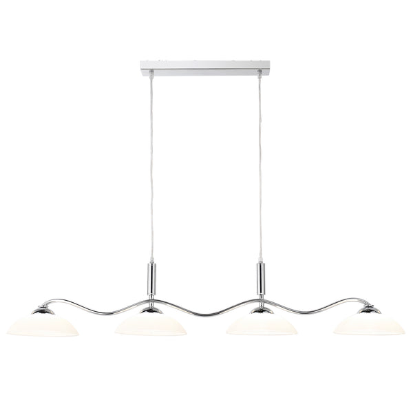 Searchlight CHROME 4 LIGHTS BAR PENDANT WITH FROSTED GLASS SHADES