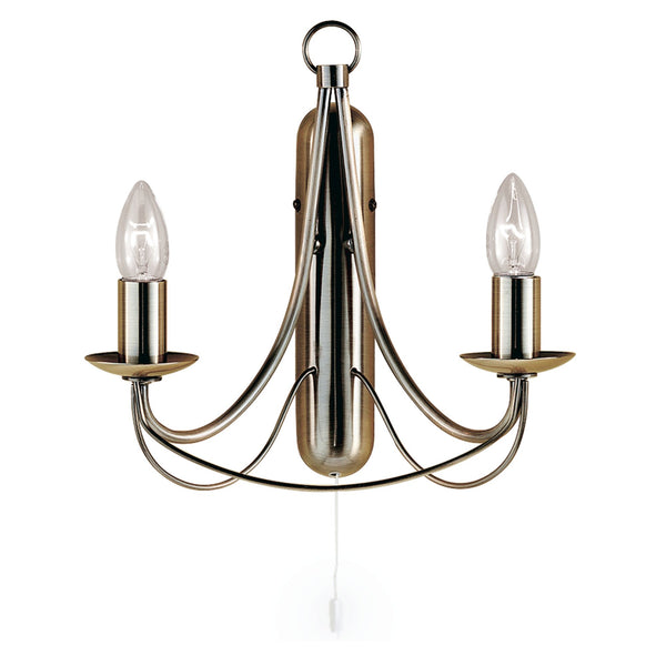 Searchlight MAYPOLE 2 LIGHT ANTIQUE BRASS WALL LIGHT