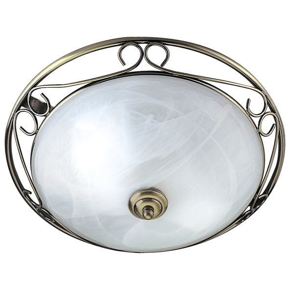 Searchlight FLUSH 37cm ANTIQUE BRASS-MARBLE GLASS FITTING