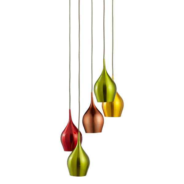Searchlight VIBRANT 5 LIGHT MULTI-DROP COLOURED (RED, GREEN, GOLD, COPPER) SHADES