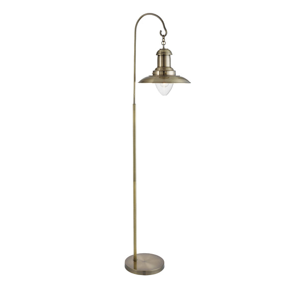 Searchlight FISHERMAN FLOOR LAMP, ANTIQUE BRASS, CLEAR GLASS SHADE