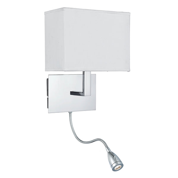 Searchlight CHROME WALL LIGHT WITH WHITE OBLONG SHADE INCORPORATING LED FLEXI-ARM