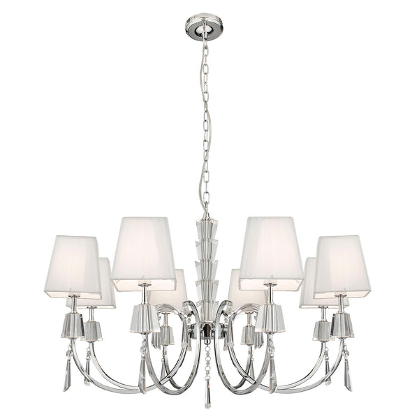 Searchlight PORTICO CHROME GLASS 8 LIGHT PENDANT - WHITE STRING SHADE