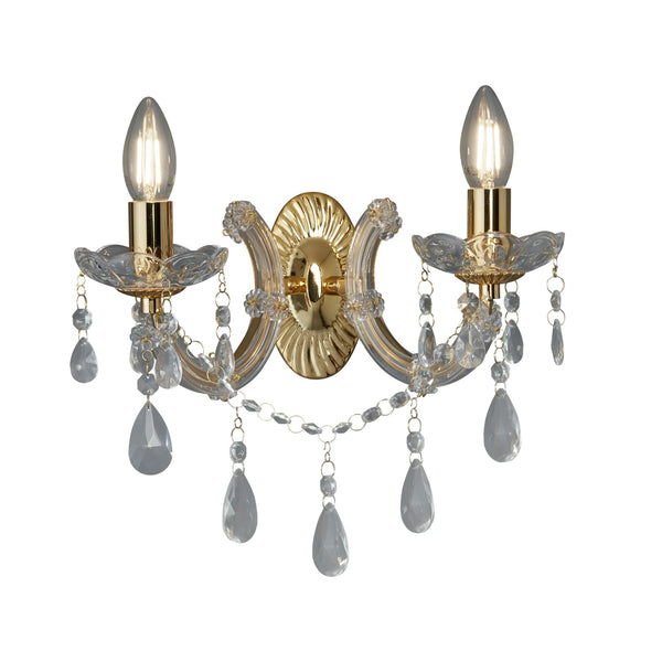 Searchlight MARIE THERESE - 2 LIGHT WALL BRACKET, POLISHED BRASS, CLEAR CRYSTAL GLASS