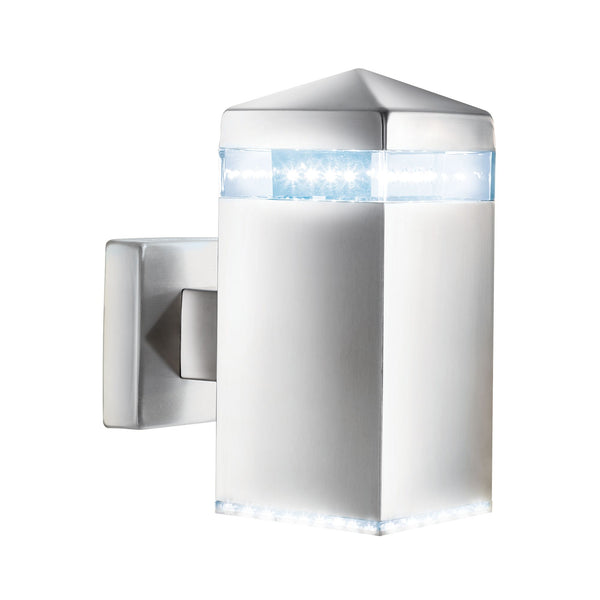 Searchlight INDIA LED OUTDOOR WALL LIGHT - SATIN SILVER SQUARE 32 LEDS